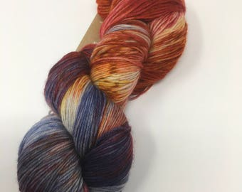 Indie Dyed Yarn on Merino cashmere Nylon MCN blue purple red speckled