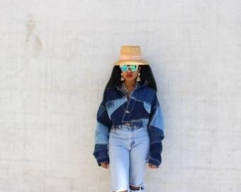 VTG 90s Mixed Patchwork Denim Dope Vintage Jean Jacket Oversized Slouch size XXL Cropped 1990 style