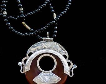 FREE SHIPPING. Tuareg pendant. Magic pendant. Cornaline. Handmade. Exotic necklace. Exclusive and unique pendant from Tass Orient.