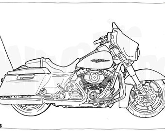 Harley Davidson Street Glide Colouring Page - Motorcycle Illustration - Motorcycle Coloring
