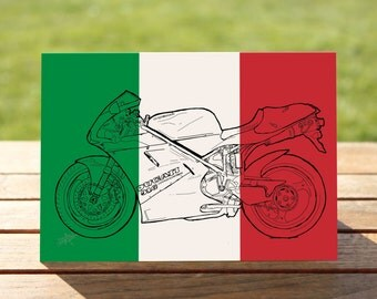 "Ducati 916 Motorcycle Gift Card, Italian Flag Colourblock design | A6 Measures: 6"" x 4"" / 103mm x 147mm 