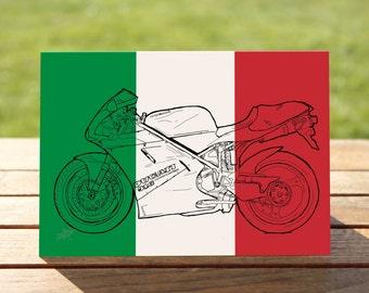"Sportsbike Motorcycle Gift Card, Italian Flag Colourblock design | A6 Measures: 6"" x 4"" / 103mm x 147mm | Motorbike Gift Card"