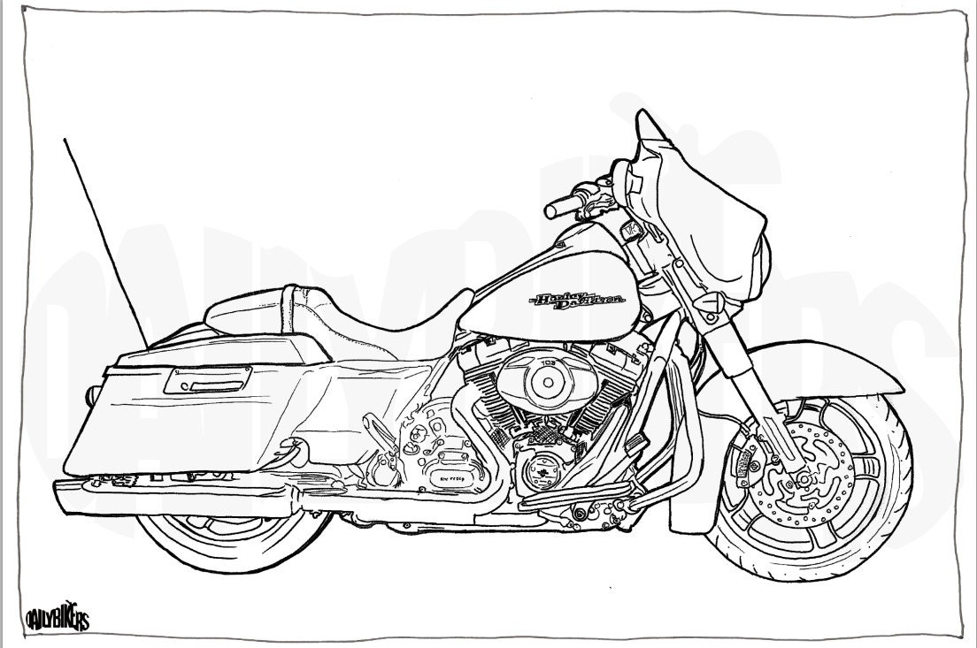 harley davidson street glide colouring page motorcycle illustration motorcycle coloring digital download