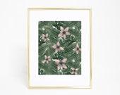 Tropical Print, Tropical Art, Beach Decor, Beach Art print, Botanical Art Print, Palm Leaf Print, Tropical Leaf Art, Wall Art, Printable Art