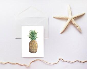 Pineapple Card, Beach Card, Tropical Printable Stationary, Thank You Card, Printable Card, Blank Card, Printable Blank Card, Thank You Note