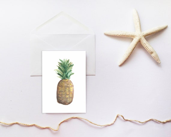 Pineapple Card, Printable Stationary, Greeting Cards, Thank You Card, Printable Card, Tropical, Beach Card, Blank Card, Printable Blank Card