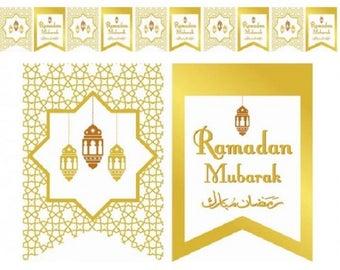 Flags Ramadan Mubarak Lantern Theme White and Gold (Pack of 10)