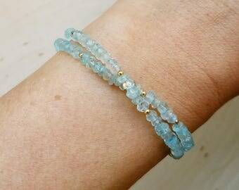 Aquamarine Wrap Bracelet and Choker