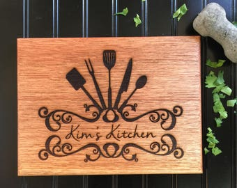 Cutting Board, Custom Cutting Board, Moms Kitchen, Christmas Gift, Gift for Mom, Engraved Board, Mahogany Cutting Board