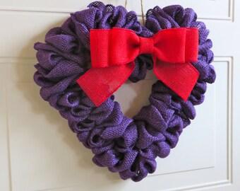 Purple Burlap Valentine Wreath, Burlap Wreath, Heart Wreath, Wreath for Front Door, Red Hat Society, Spring Wreath, Valentines Day Wreath