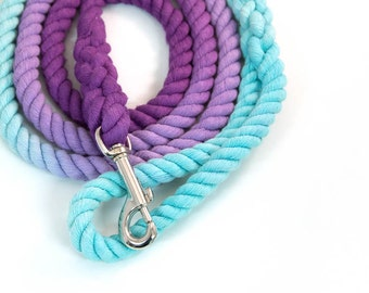 "Dog Rope Leash ""The Mira"" in Robin's Egg Blue and Purple Ombre"
