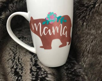 Momma Bear rose gold with flowers mug!