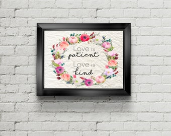 Love is patient love is kind | JW | 1 Corinthians | Bible Verse Print | INSTANT DOWNLOAD | anniversary gift | wedding gift | 0058