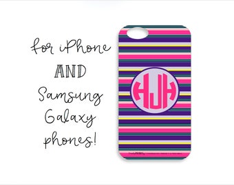 Colorful Striped Monogram Tough iPhone Case, Colorful Striped Monogram Tough Samsung Galaxy Case, Purple Striped Phone Case,Colorful Stripes