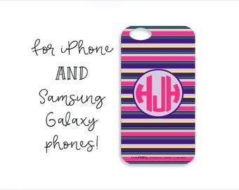 Colorful Striped Monogram Tough iPhone Case, Colorful Striped Monogram Tough Samsung Galaxy Case, Purple Striped Phone Case,Colorful Stripes