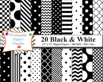 Black & White Digital Paper Pack, Instant Download Black and White Pattern, Digital Scrapbook Paper, Digital Scrapbook Element