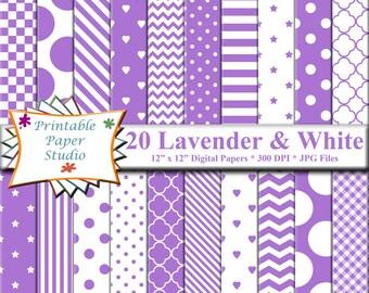 Lavender Purple Digital Paper Pack, 12x12 Purple Scrapbook Paper, Lavender Paper Instant Download Digital File, Purple Patterned Paper