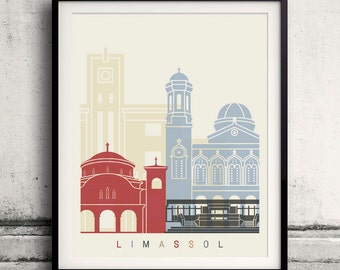 Limassol skyline poster - Fine Art Print Landmarks skyline Poster Gift Illustration Artistic Colorful Landmarks - SKU 2329
