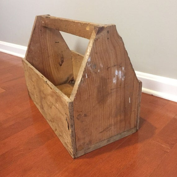 Vintage Wooden Tool Box Wood Tool Caddy Flower Planter