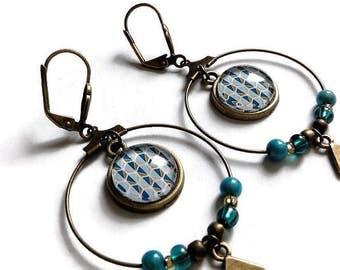 """Earrings Creole Bohemian bronze cabochon motif """"Scandinavian"""" blue green graph, glass cabochons"""