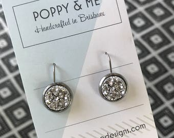 Glamour Sparkly Druzy Stud Earrings 12mm Dangles