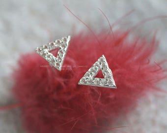 CZ open Triangle Stud Earrings,Geometric Disk Earrings,Round Stud Earrings,Simple,Modern Silver Jewelry,Gift,Flat CZ silver Earrings,For Her