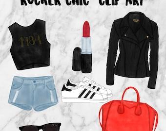 ROCKER CHIC Clip Art . Easter clip art. clip art. hand drawn designs. fashion clipart
