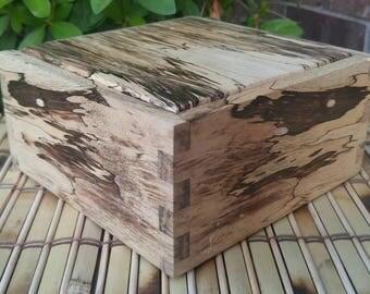 Handmade Wooden Keepsake Box with Rocking Lid(Spalted Tamarind & Ebony)