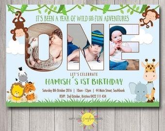 Custom Printable Photo Words Birthday Invitation Any Age 1st Birthday Jungle Safari Animals Monkey Elephant Lion Tiger Zebra
