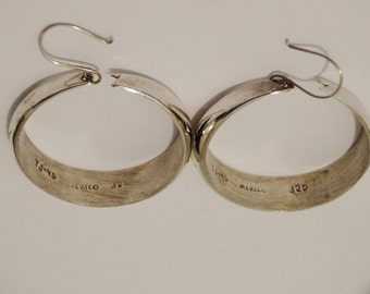 "Vintage Sterling Silver TJ-40 Mexico 925 Signed 1 1/4"" Hoop Earrings."