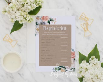 Botanical baby shower the price is right game botnical printable baby shower game instant download floral printable party flwers price guess