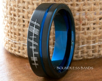 Tungsten Ring Tungsten Wedding Ring Mens Women's Wedding Band Promise Anniversary Engagement 7mm Blue Black Matching Ring Set Nordic Runes
