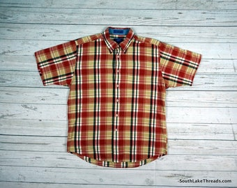 vtg Pendleton Woolen Mills Red Plaid S/S Short Sleeve Button Down Polo Flannel - Men's Large - Rustic - Outdoors - Vintage