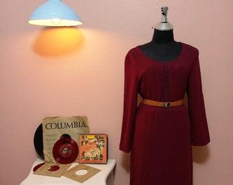 Vintage Dress. 90's Dress. Bordeaux Dress. 1990 Dress. 1990 Womens dress. Bordeaux Vintage Dress For Women 1990's Size M Free Shipping