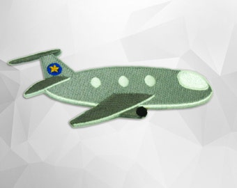 Plane Iron on patch (L) 12.0 x 5.0 cm - Plane Applique Embroidered Iron on Patch
