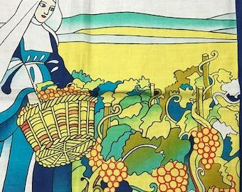 Vintage Handkerchief Blue Nun Wine