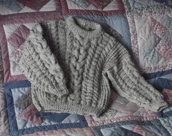 Hand knit child's Aran jumper