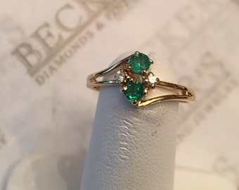Vintage 14k yellow gold open bypass ring with 2 Emeralds & 2 Diamonds, .25 tw, size 5