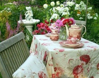 Vintage WAVERLY Norfolk Rose GARDEN ROOM Roses Outdoor Coated Tablecloths  Shabby French Country Prairie Cottage French