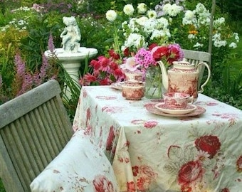 Vintage WAVERLY GARDEN ROOM Roses Outdoor Coated Tablecloths Shabby French Country Prairie Cottage Chic