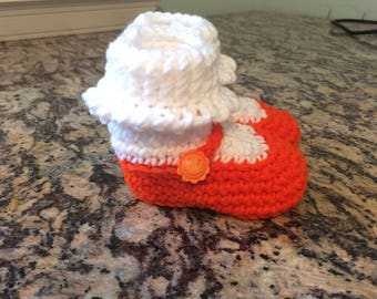 Creamsicle Mary Jane style baby booties