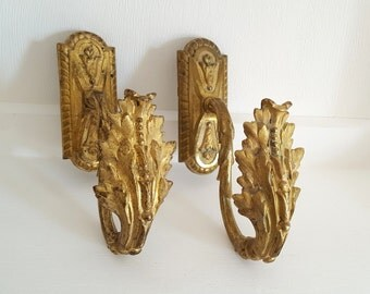 Pair of bronze TIE BACK HOOKS . Antique French curtain holders . Acanthus leaves