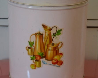 Vintage Pink Large Metal Kitchen Canister with Amazing Graphics!