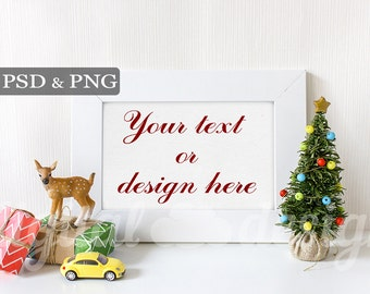 Baby Deer Christmas Tree Styled Stock Photography Frame Mockup Download Bundle Kids Empty Frame Digital Product Background Holiday