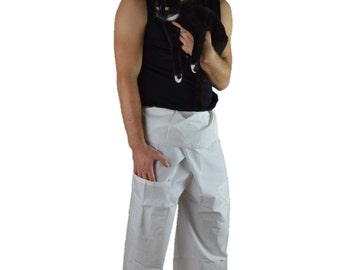 Thai Fisherman EXTRA LONG LENGTH Wrap Pants white
