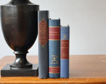 Blue Books, Vintage Books, Decorative Books, Antique, Vintage Collection, Book Décor, Wedding Decor, Home Decor, Centerpiece, Office Décor