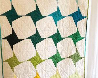 Baby Quilt, Handmade  Quilt, Modern Quilt, Wheelchair Quilt, Batik Quilt, Small Quilt