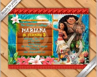 50% OFF SALE - Princess Moana Birthday Invitation - Moana tiki Invitation - Printable Moana Princess Birthday Party Invitation Luau #2