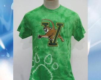 University of Vermont VCat T-Shirt // Green Paw Tie Dye // UVM Tee // Catamounts // Vermont // Burlington //