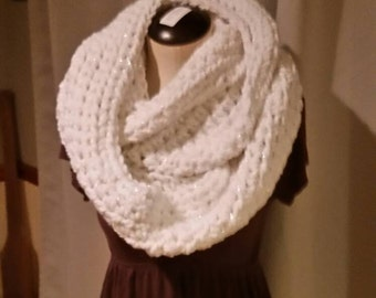 Crochet Infinity scarf woman's girl's gift white sparkle Christmas Birthday. Valentines